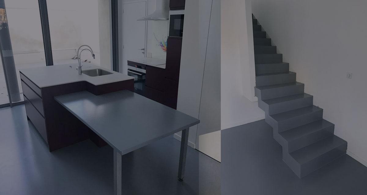 Rénovation d'une cuisine en résine et béton ciré.